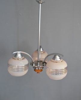 1930's Triple Arm Chrome Pendant with Butterscotch Bakelite