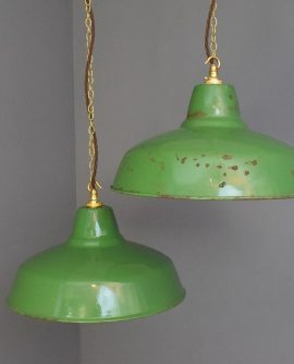 Large Green Vintage Industrial Pendant Light