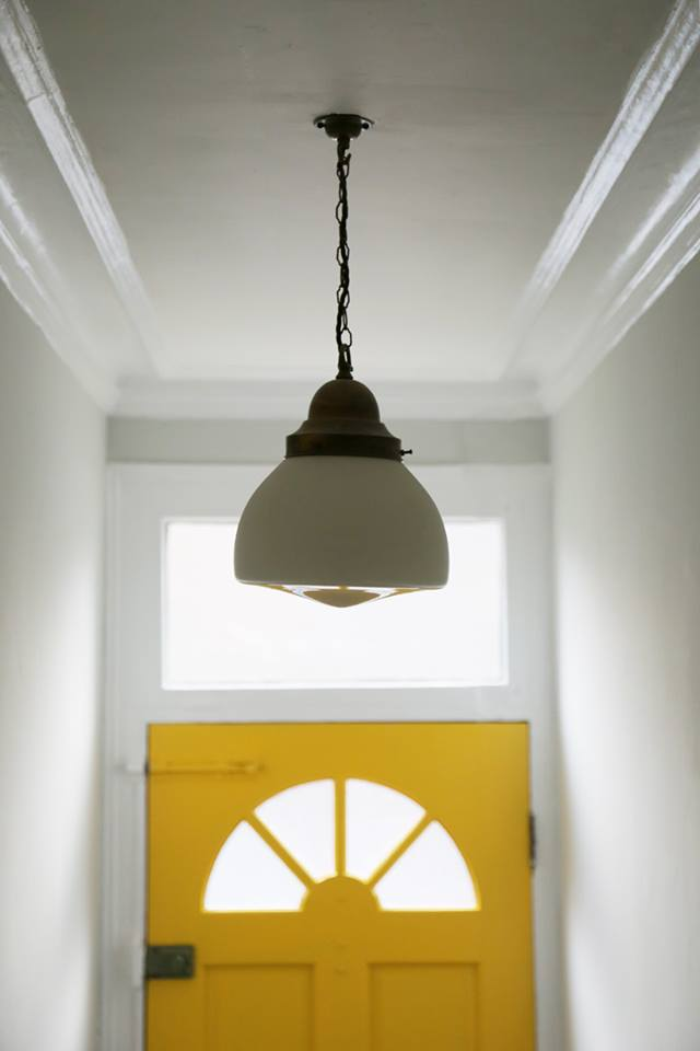 Vintage Opaline Glass Pendant Light