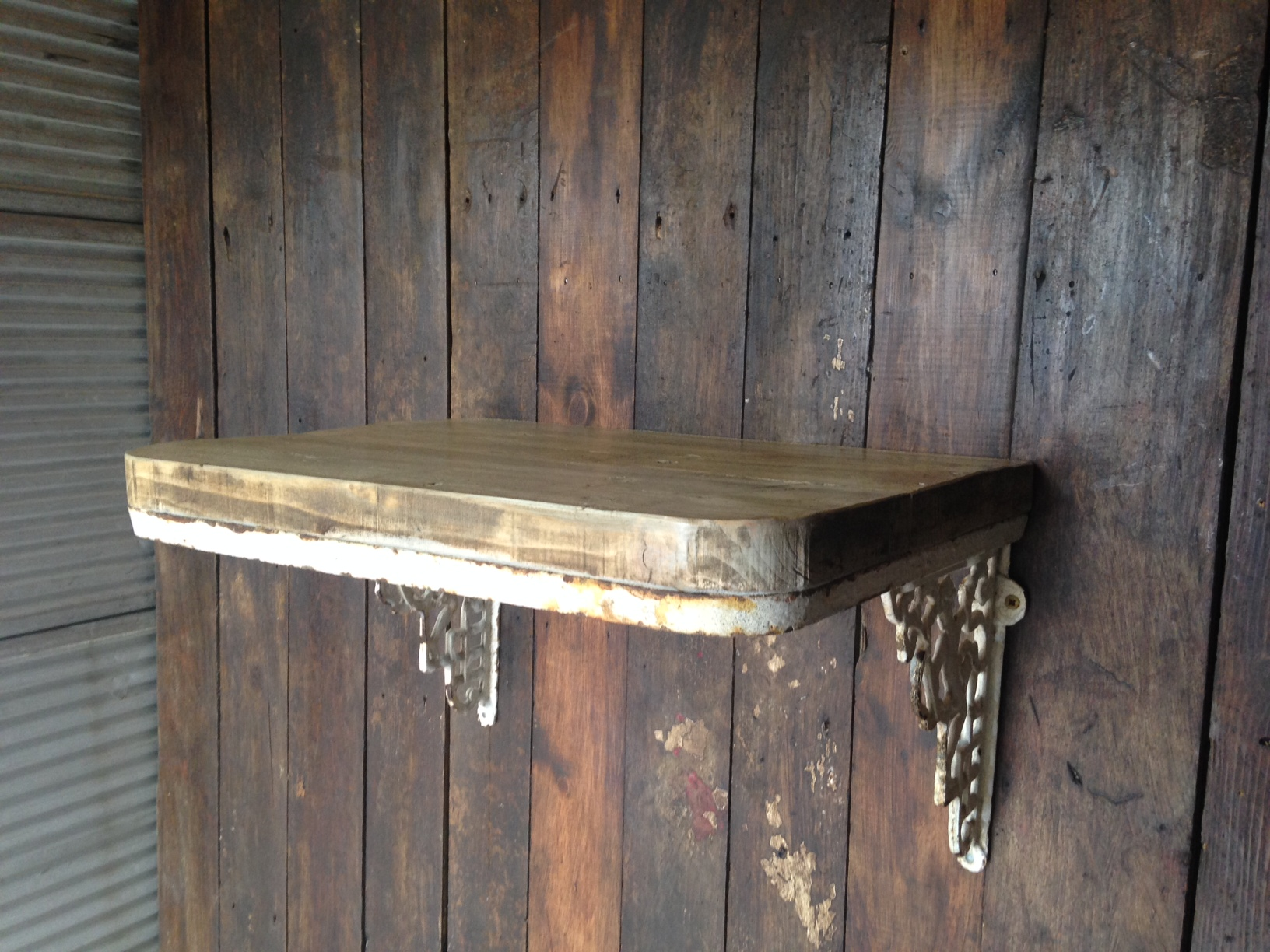 Wonderful image of  Decorative items / Wrought Iron Cherub Wall bracket with Wooden Shelf with #8B7740 color and 1632x1224 pixels