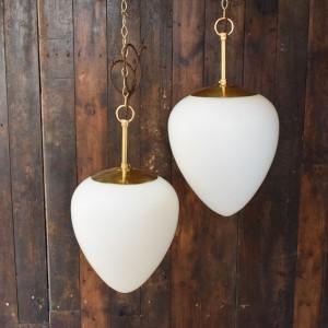 Vintage Christopher Wray White Glass Egg Light