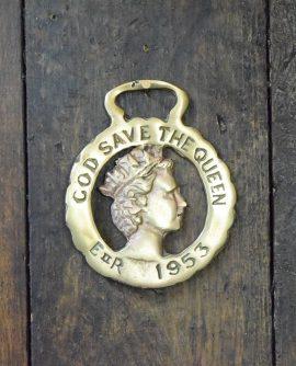 Royal Memorabilia - God Save the Queen Horse Brass