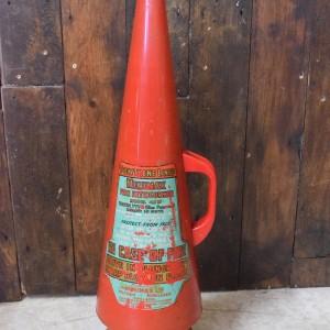 Vintage Fire Extinguisher on Wooden Base