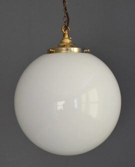 "Large 12"" White Opaline Glass Ball Light"