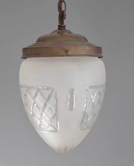 Vintage Acorn Cut Glass Pendant Light
