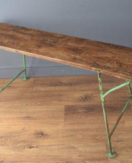 Vintage Rustic German Wooden Bench with Green Metal Legs