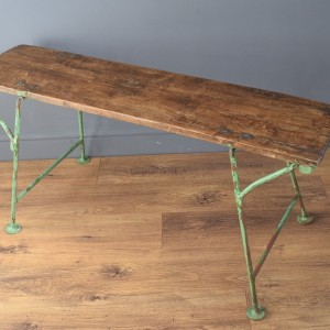 Vintage Rustic German Wooden Bench with Green Metal Legs