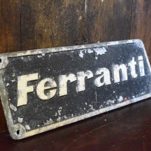 Vintage Cast Aluminium Ferranti Factory Sign