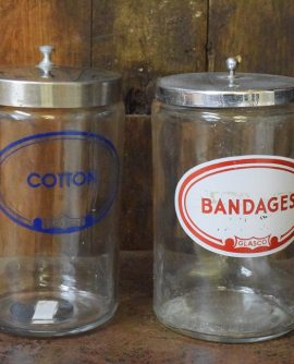 Pair of Vintage Medical Storage Jars