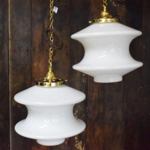 Vintage White Opaline Glass Pendant Light