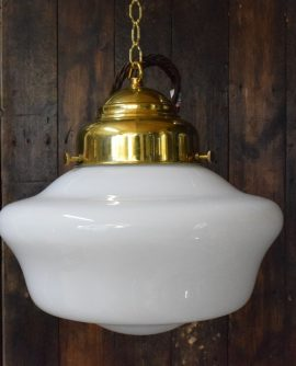Large White Opaline Glass Chapel Light