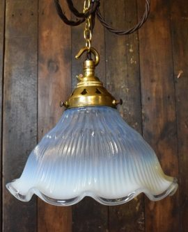 Holophane Style Pendant Light  with Ruffled edge