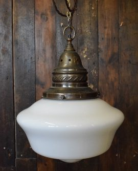 Large White Opaline Glass Chapel Pendant Light