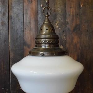 Large White Opaline Glass Chapel Pendant Light