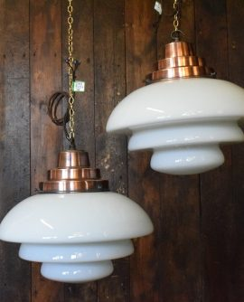 Tiered White Opaline Glass light - Crompton Holophan