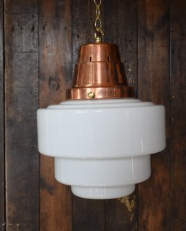 White Opaline Glass Light with Copper Gallery