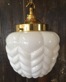 Vintage White Opaline Glass Pendant Light