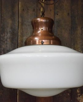 Extra Large Art Deco Opaline Chapel Light with Copper Gallery