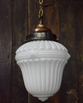 Art Deco White Glass Pendant Light