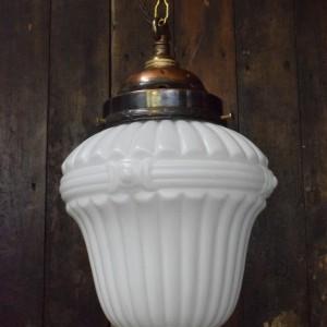 Art Deco White Glass Pendant Light