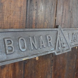 Bonar Long Industrial Factory Sign - Brass with painted finish