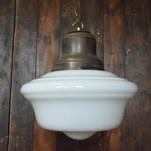 Large White Opaline Glass School House Pendant Light