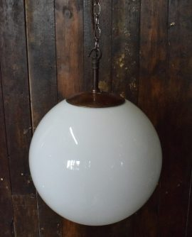 "Large 12"" White Opaline Glass Ball Light with Brass Monks Cap"