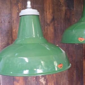 Large Green Enamelled Industrial Thorlux Pendant Light