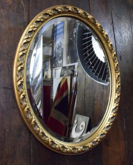 Medium Sized Oval Vintage Mirror with Gilt Frame