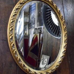 Medium Sized Oval Vintage Mirror with Gilt Frame