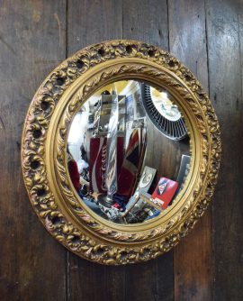 Medium Sized Gilt Framed Vintage Convex Mirror