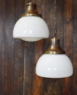 Vintage Opaline School House Pendant Light