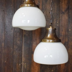 Vintage Opaline School House Pendant Light