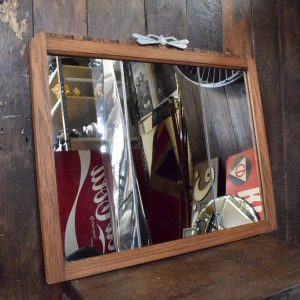 Rectangular Art Deco Mirror with Oak Frame