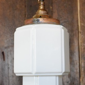 Art Deco White Opaline Glass  Light