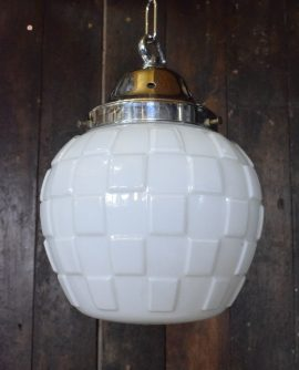 Art Deco White Opaline Glass Square Patterned Pendant Light