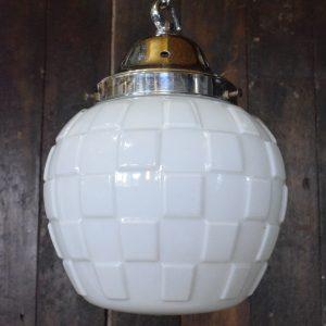 Art Deco White Opaline Glass Square Patterned Pendant Light