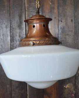 Art Deco White Opaline Glass Chapel Light with Copper Gallery