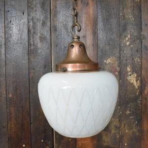 Art Deco White Opaline Glass Fancy Cut Pendant Light
