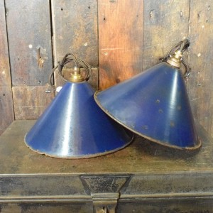 Vintage Blue Enamel Industrial Coolie Light