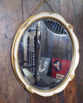 Vintage Cream and Gilt Round Mirror
