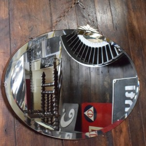 Original Art Deco Oval Bevelled Mirror