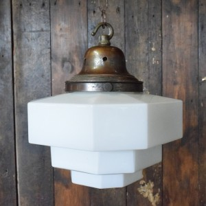 Art Deco Opaline White Glass Geometric Pendant Light