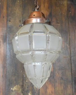 Vintage Frosted Glass Pendant Light  with Cut Glass detail