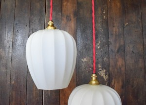 Vintage Mid Century White Glass Pendant Light