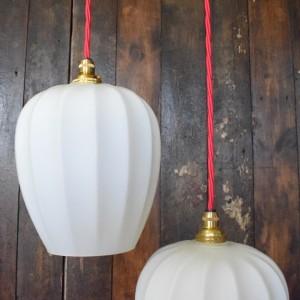 Vintage Mid Century White Glass Pendant Light