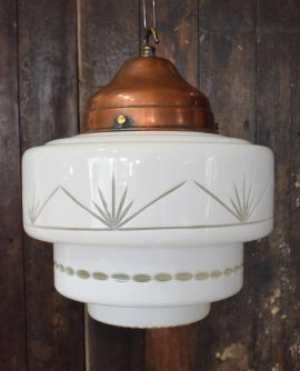 Original Art Deco Opaline Cut Glass Tiered Pendant Light