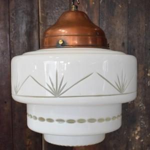 Original Art Deco Opaline Cut Glass Tiered Pendant Light