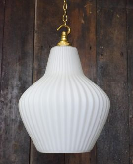 Original Mid-Century Retro White Glass Pendant Light