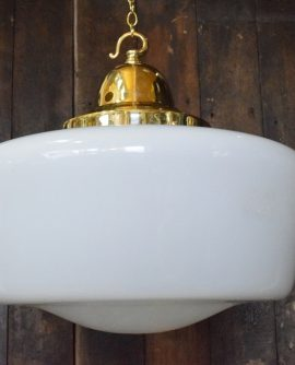 Large Original Art Deco Opaline Glass Chapel Light